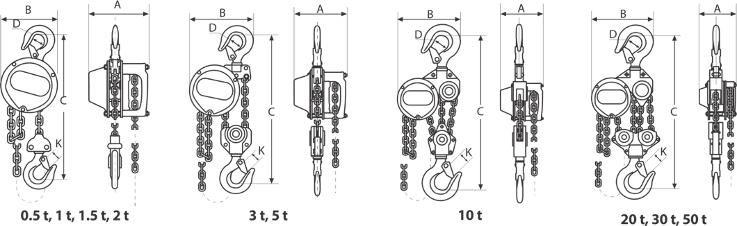 drawing of manual chain hoist