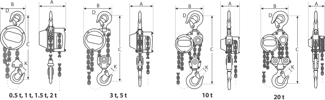 drawing of manual hoist with chain
