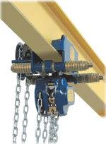 example of manual chain hoist with a geared trolley