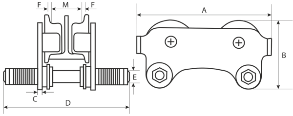 drawing of manual chain hoist with geared trolley