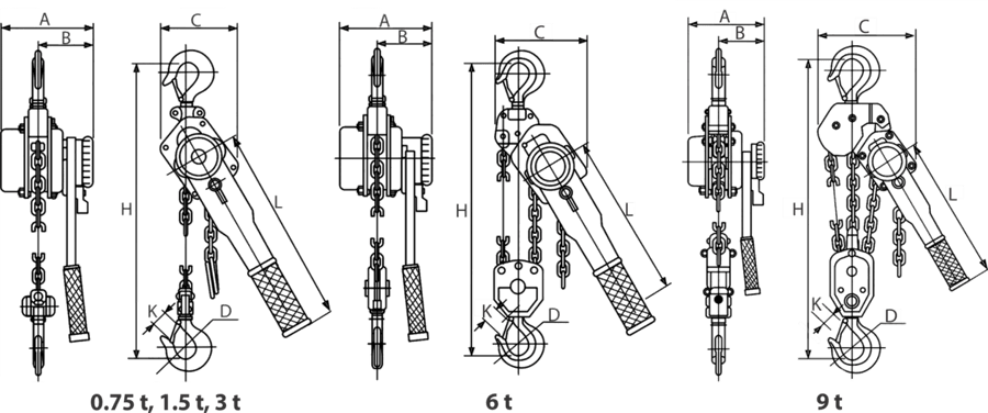 drawing of chain hand hoist with lever
