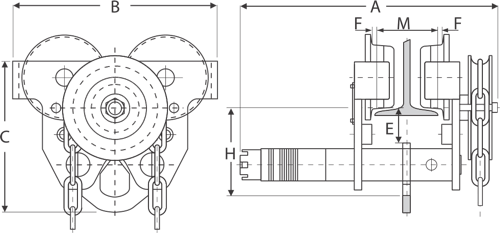 drawing of geared trolley