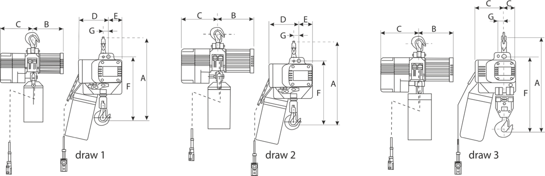 drawing of triphasic chain hoist