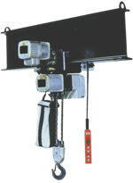 triphasic chain hoist with electric trolley use example