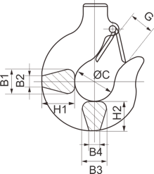 electric chain hoist load hook drawing