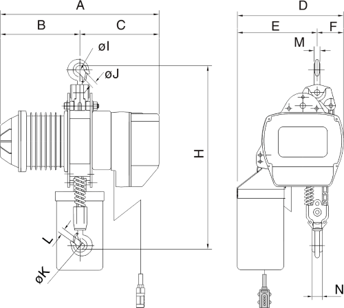 drawing of electric chain hoist