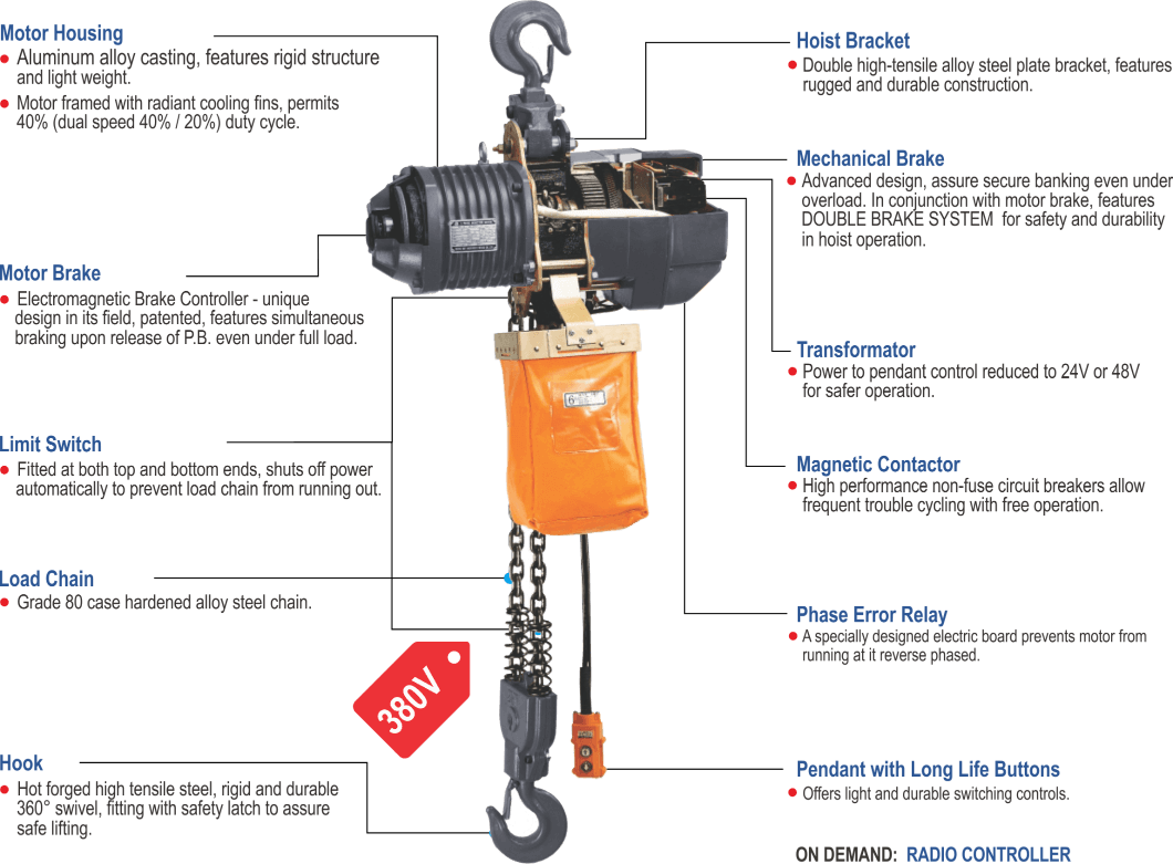 features of Blackbear electric chain hoist, three-phase
