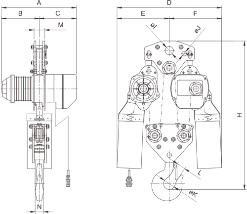 drawing of electric chain hoist PRO-YSS 10 tons