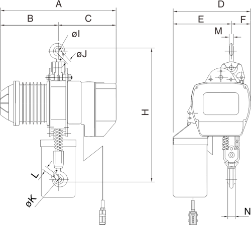 drawing of electric chain hoist PRO-YSS 2 and 3 tons
