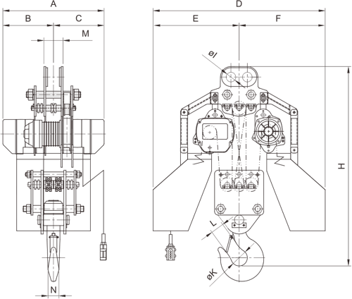 drawing of electric chain hoist PRO-YSS 20 and 30 tons