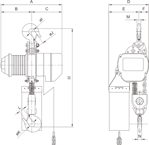 drawing of electric chain hoist PRO-YSS 5 tons