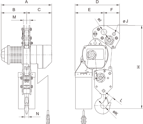 drawing of electric chain hoist PRO-YSS 7.5 tons