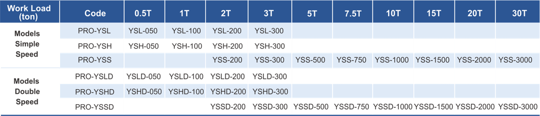 variants of electric chain hoist PRO-YSS