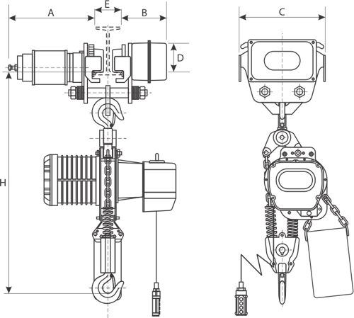 drawing of electric hoist with electric trolley