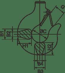 drawing of chain hoist lifting hook