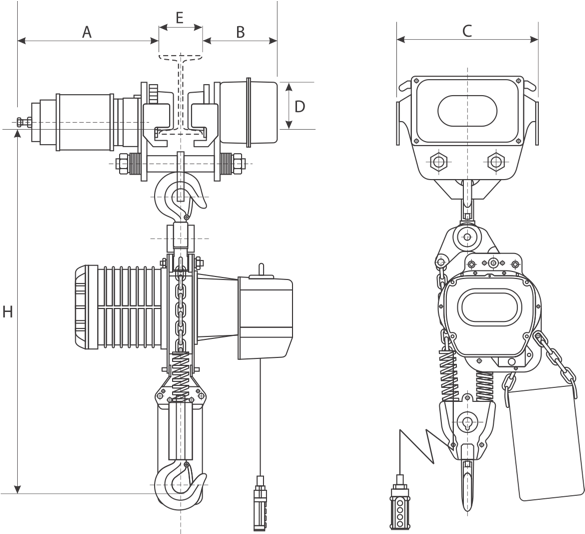 drawing of electric chain hoist with electric trolley