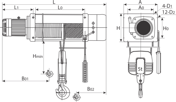 drawing of electric wire rope hoist