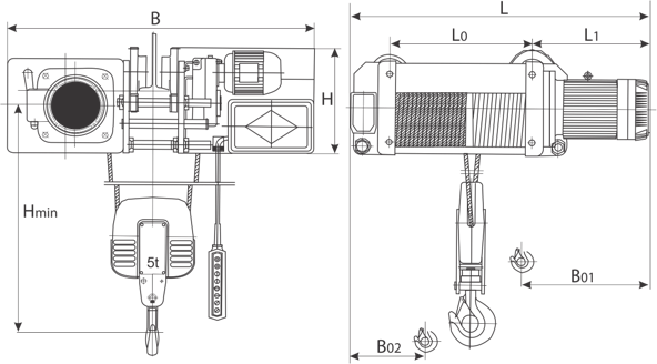 drawing of electric wire rope hoist with electric trolley