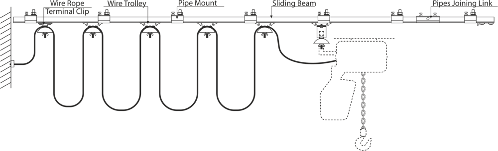 drawing of power supply cable sliding system