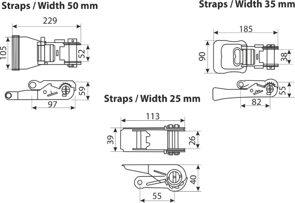 dimensions and features of lashing ratchets
