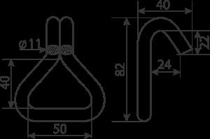 double-J hooks shape and sizes