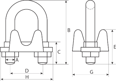 drawing of wire rope clip