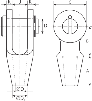 drawing of wire rope socket