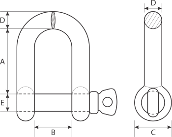 drawing of stainless steel shackle
