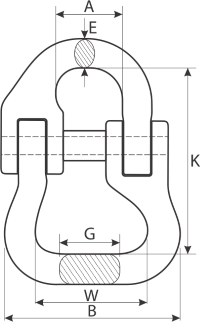 drawing of webbing slings connecting link