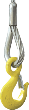 eye hook with latch for wire ropes