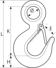 drawing of a eye hook with latch