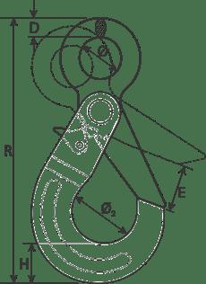 drawing of a self-locking eye hook
