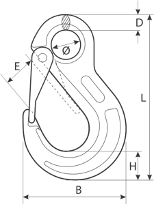 drawing of an eye hook with latch for wire ropes european type
