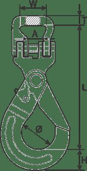 drawing of Self Locking Hook for Webbing Slings