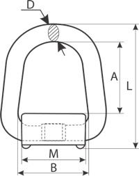 drawing of a D-Ring with Spring