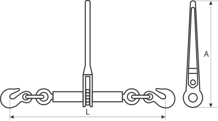 drawing of Chain Ratchet Load Binder with Safety Pins