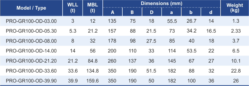 dimensions and workloads for grade 100 master link assembly