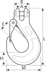 drawing of clevis hook with latch