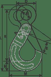 drawing of a grade 100 alloy made self-locking eye hook