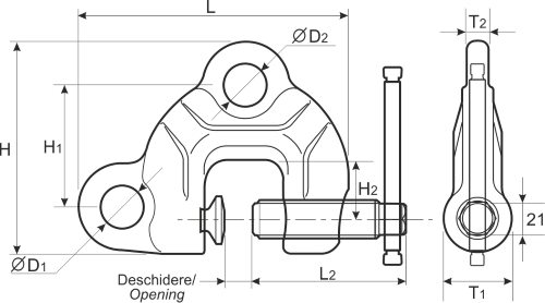 drawing of a screw clamp for plate lifting
