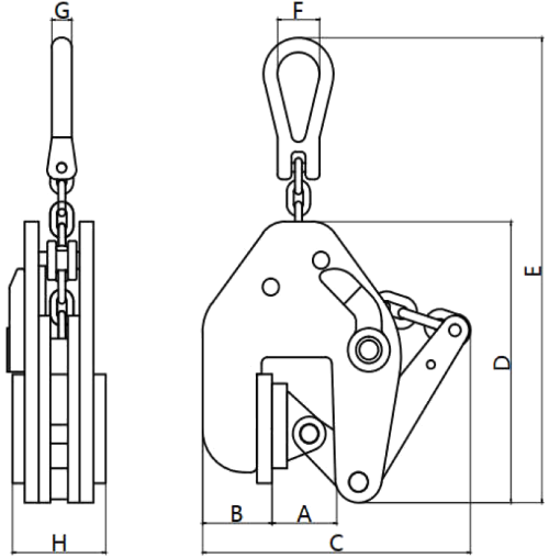 drawing of Non-Marking Vertical Clamp