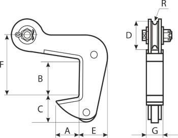 drawing of a horizontal pipe clamp