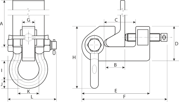 drawing of Screw Clamp for HP profiles
