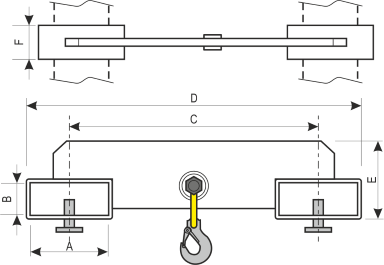 drawing of a Forklift Blades Hooks