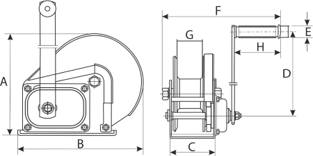 drawing of a hand winch