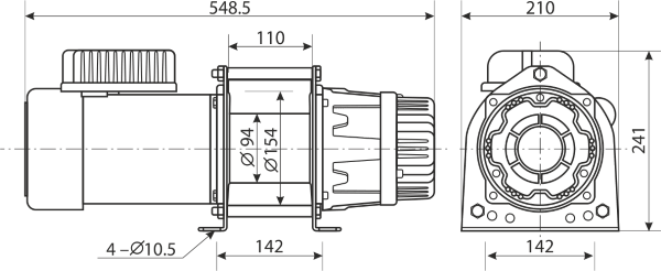 drawing of single-phase electric winch