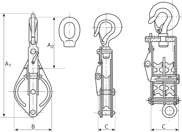 drawing of Light Duty Shackle Pulley