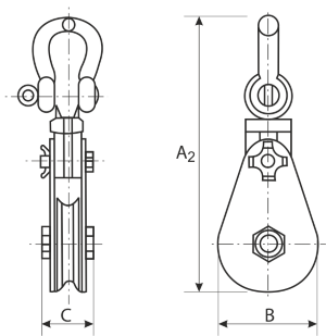 drawing of Heavy Duty Shackle Pulley