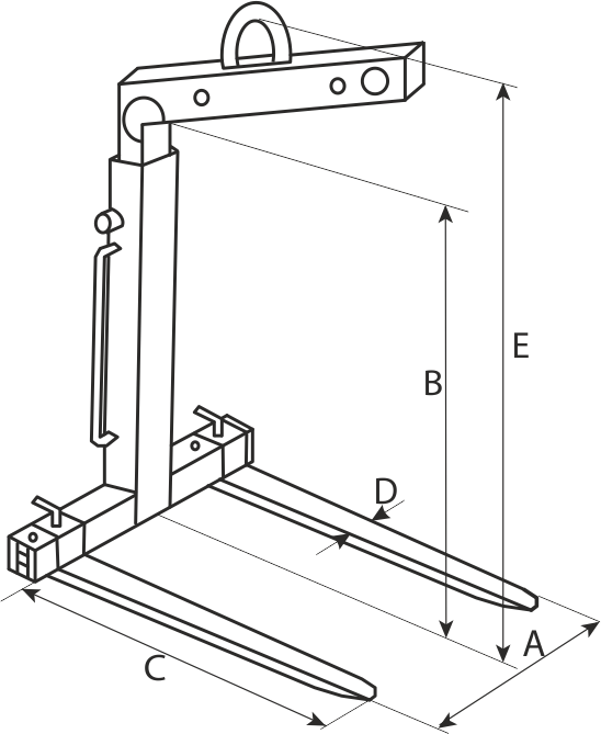 drawing of a Self-Balancing Fork for Pallets Handling