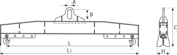 drawing of a Central Grip Lifting Beam HLA